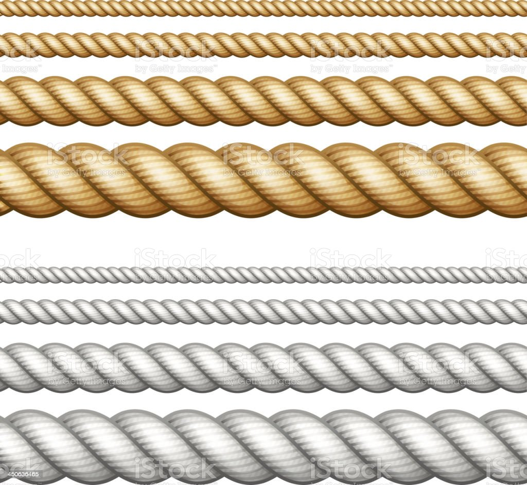 Set of ropes on white royalty-free stock vector art