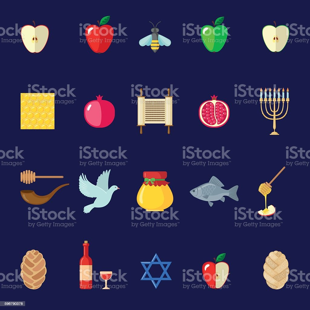 Set of Rosh Hashanah icons in flat style. vector art illustration