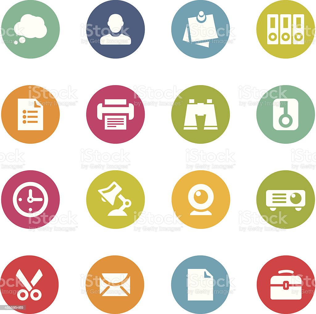 Set of round and flat office icons vector art illustration