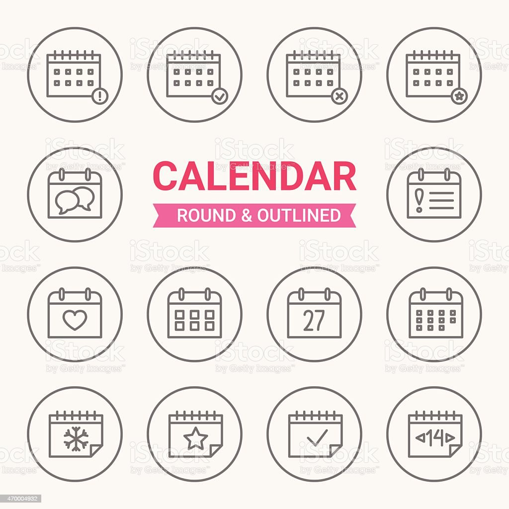 Set of round and outlined calendar icons vector art illustration