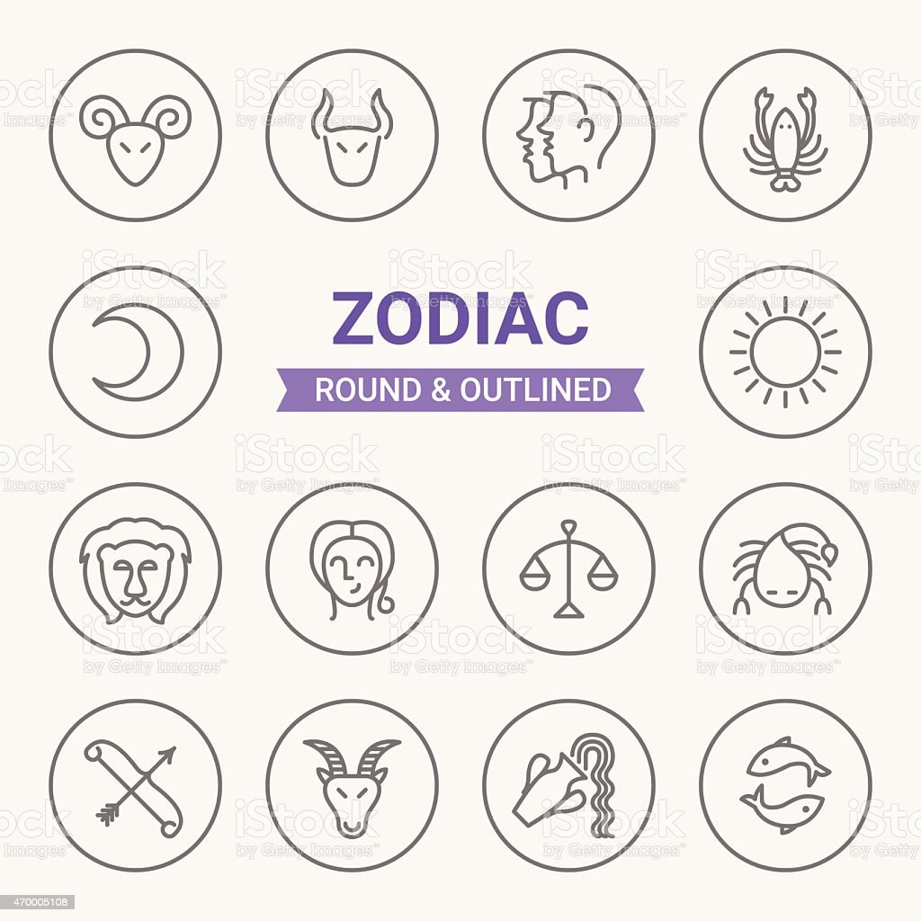 Set of round and outlined zodiac icons vector art illustration