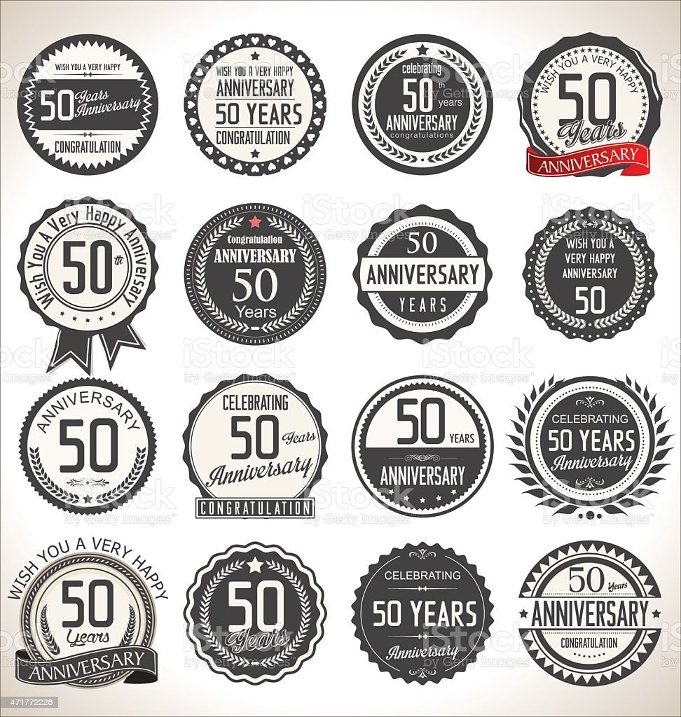 Set of round black and white 50th anniversary designs vector art illustration