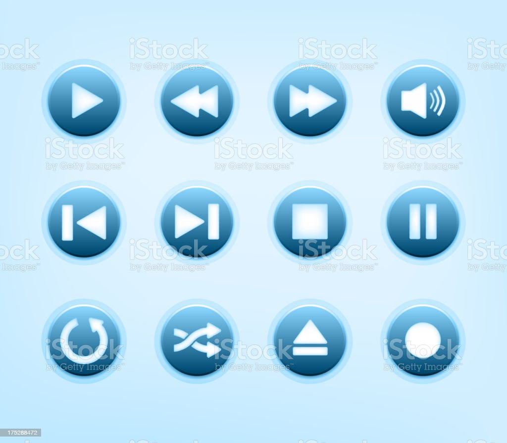 Set of round blue audio player buttons royalty-free stock vector art