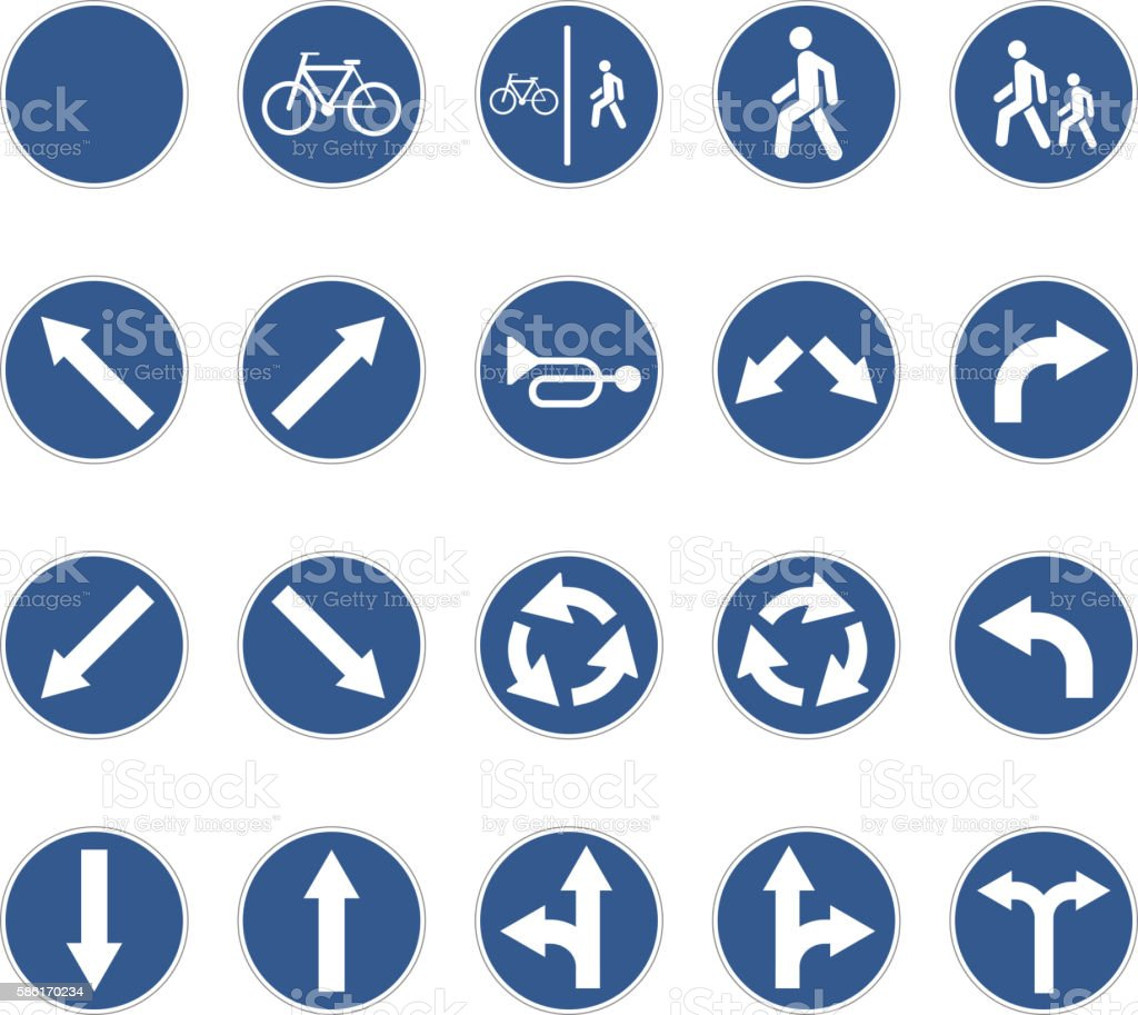 Set of round blue road signs on white vector art illustration