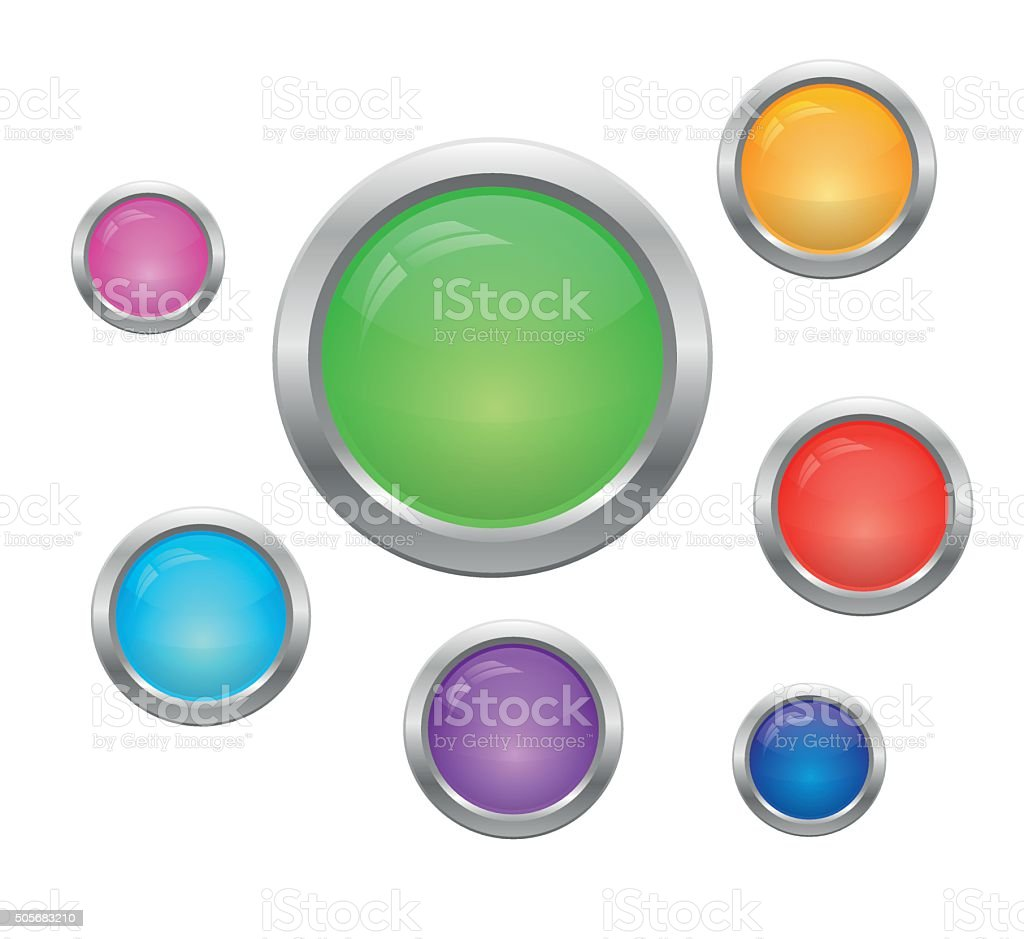 Set of round buttons vector art illustration
