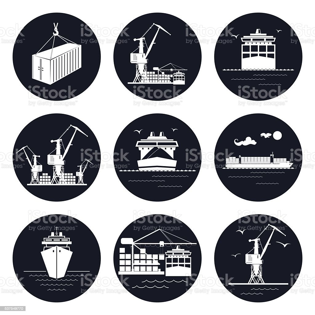 Set of Round Cargo Icons vector art illustration