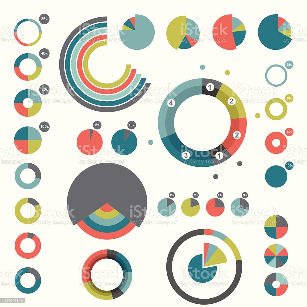 Set of round charts. Various color pie graph. vector art illustration
