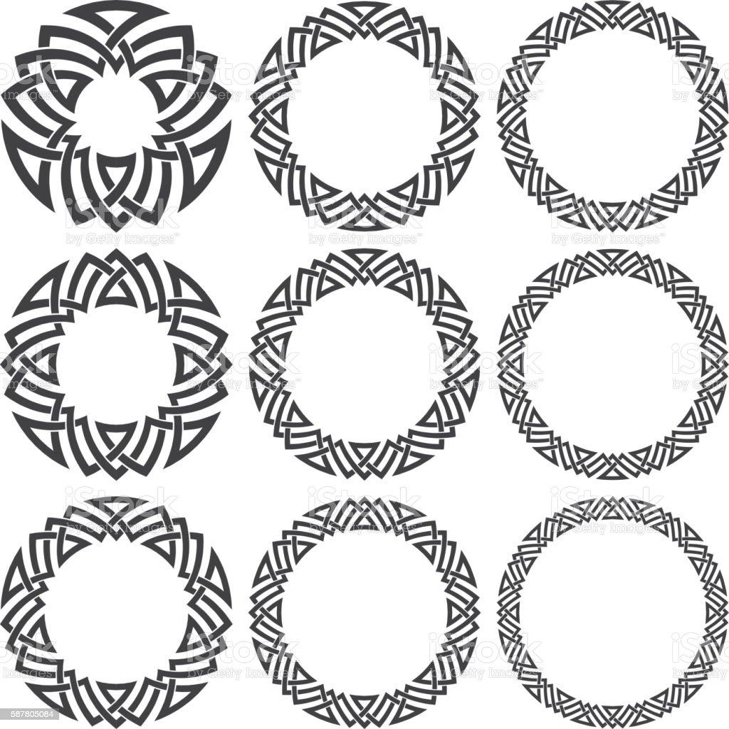 Set of round frames decorative elements vector art illustration