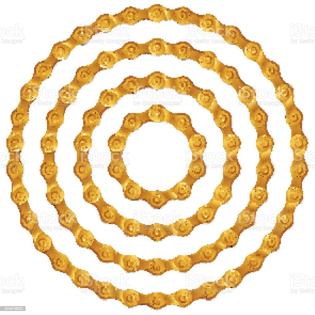 Set of round frames made of golden metal bicycle chain vector art illustration