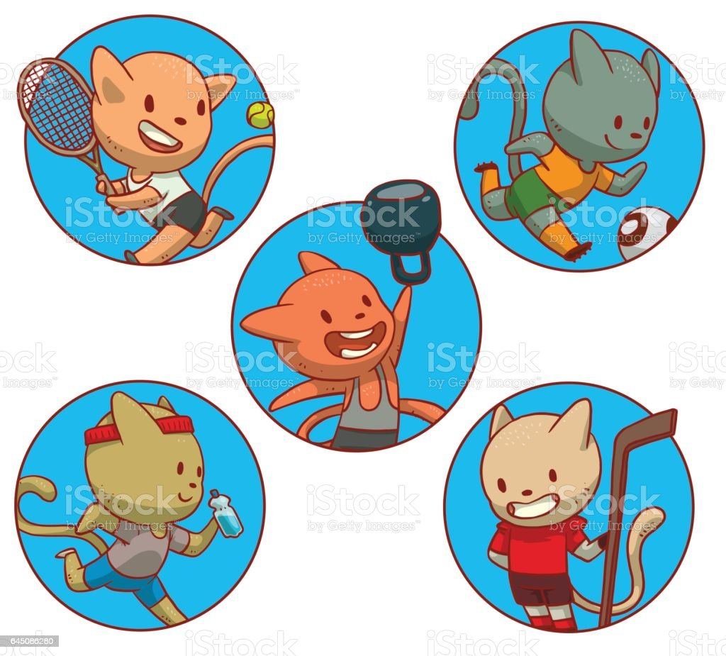 set of round frames with cute cats involved in sports vector id645086280 jpg 1024x925 cartoon sports