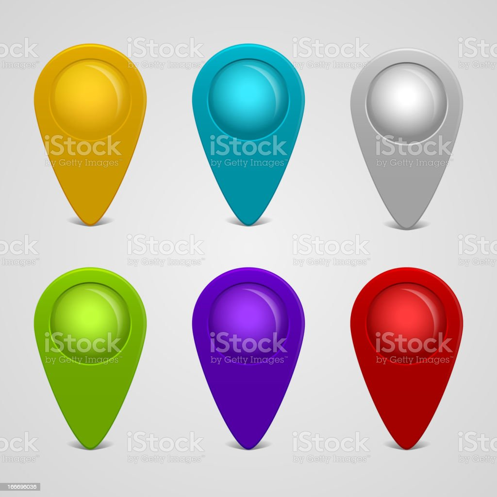 Set of round glossy map pointers royalty-free stock vector art