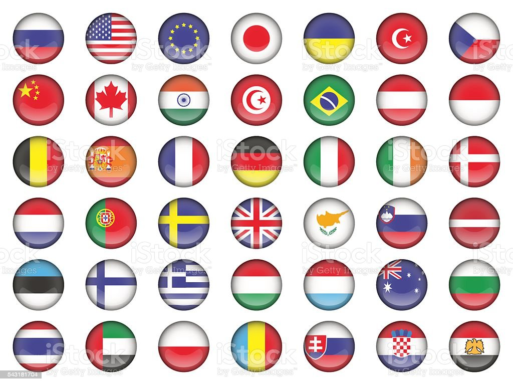set of round icons flags vector art illustration