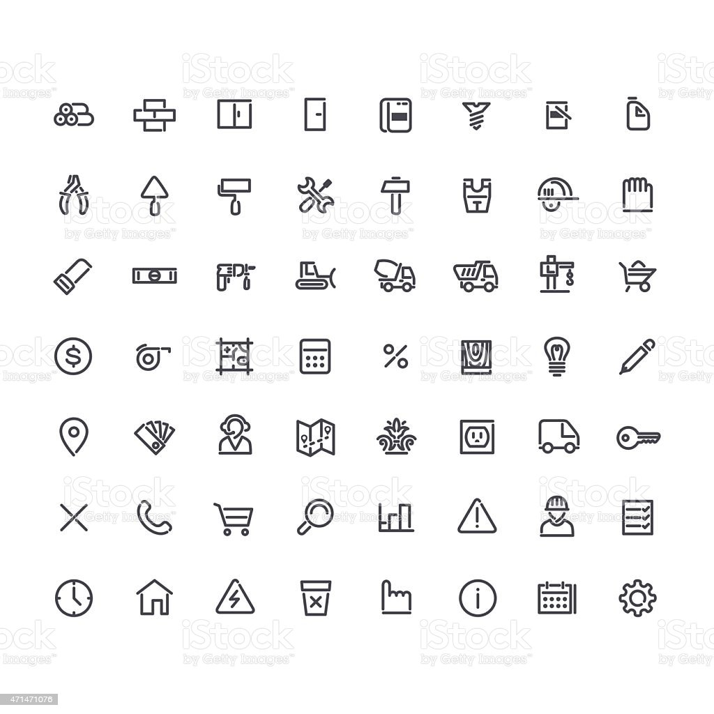 Set of Round Line Construction Icons vector art illustration