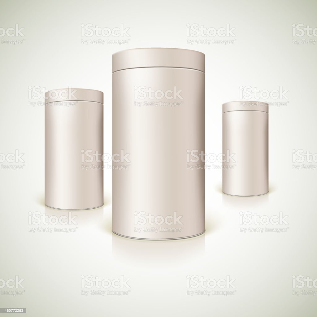 Set of round tins, packaging. vector art illustration