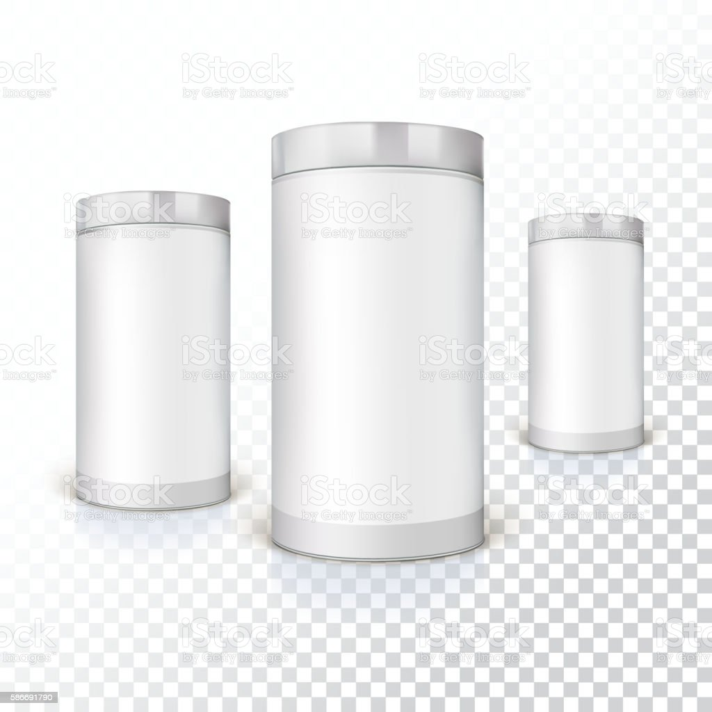 Set of round tins, packaging vector art illustration