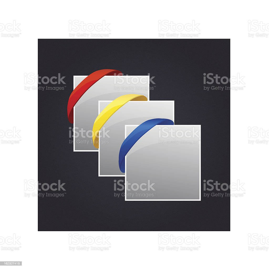 Set of Rubber Band Corner Banner Treatments royalty-free stock vector art