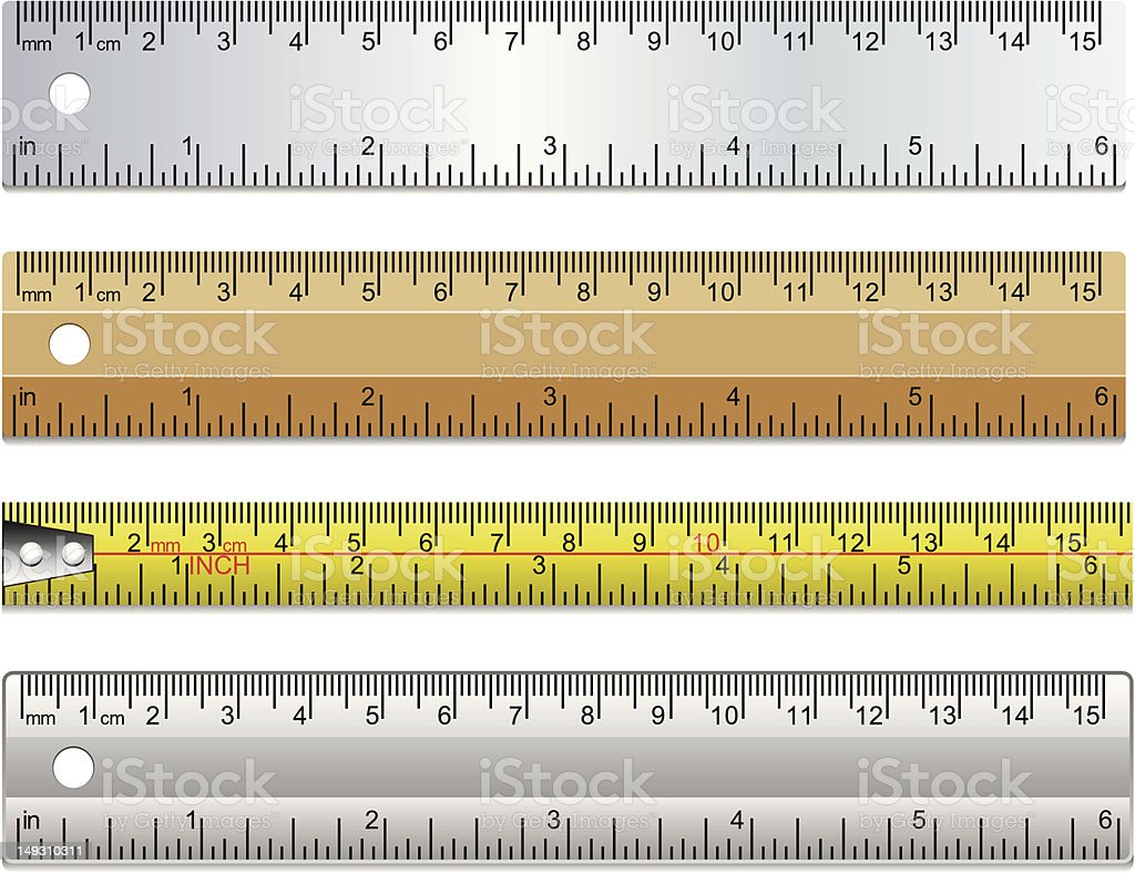 set of rulers and measuring tape vector art illustration