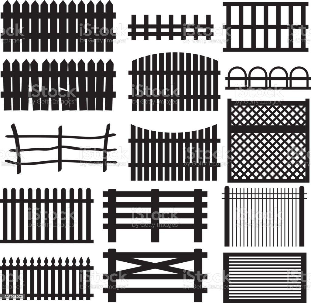 Set of rural fences types. vector art illustration