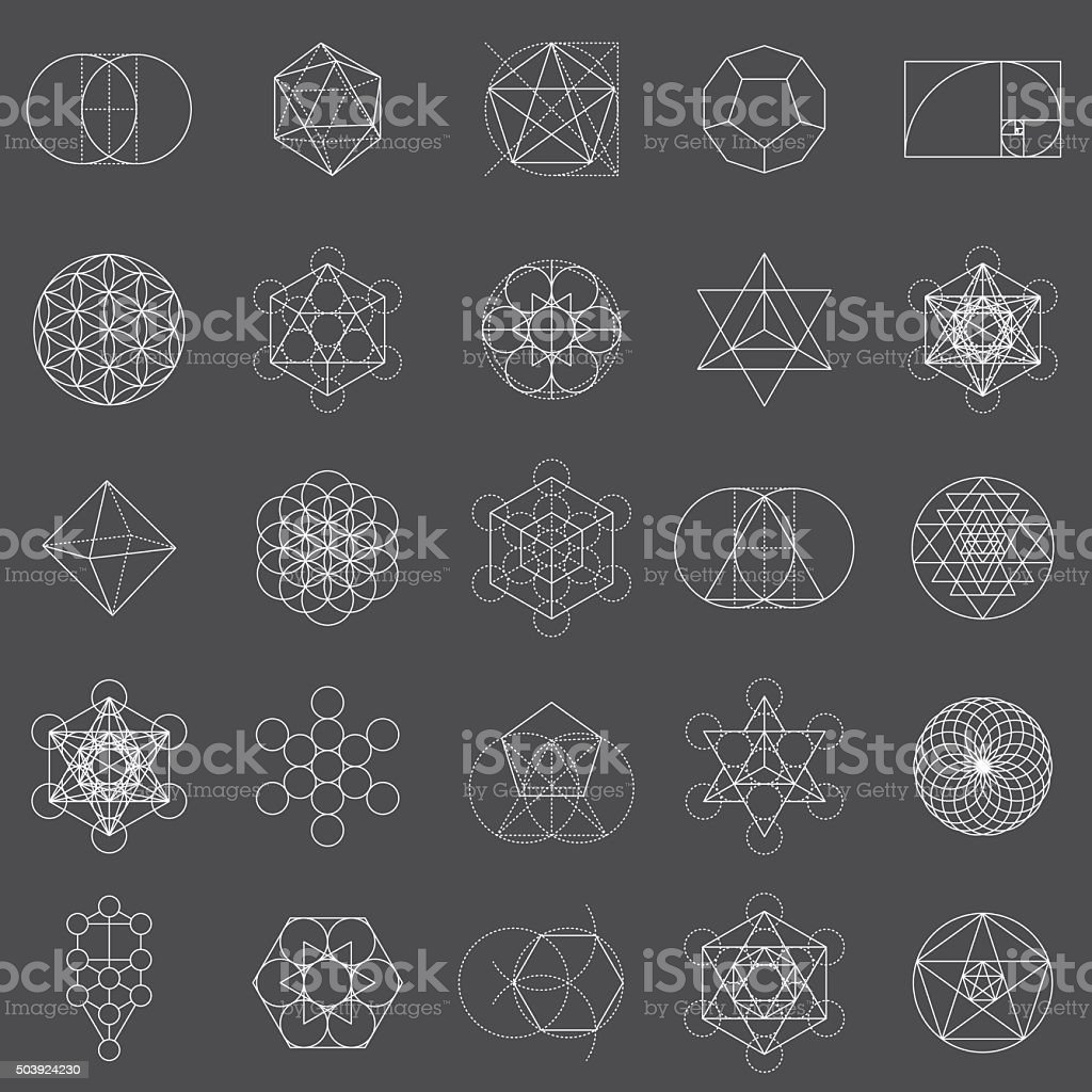 Set of Sacred Geometry Icons vector art illustration