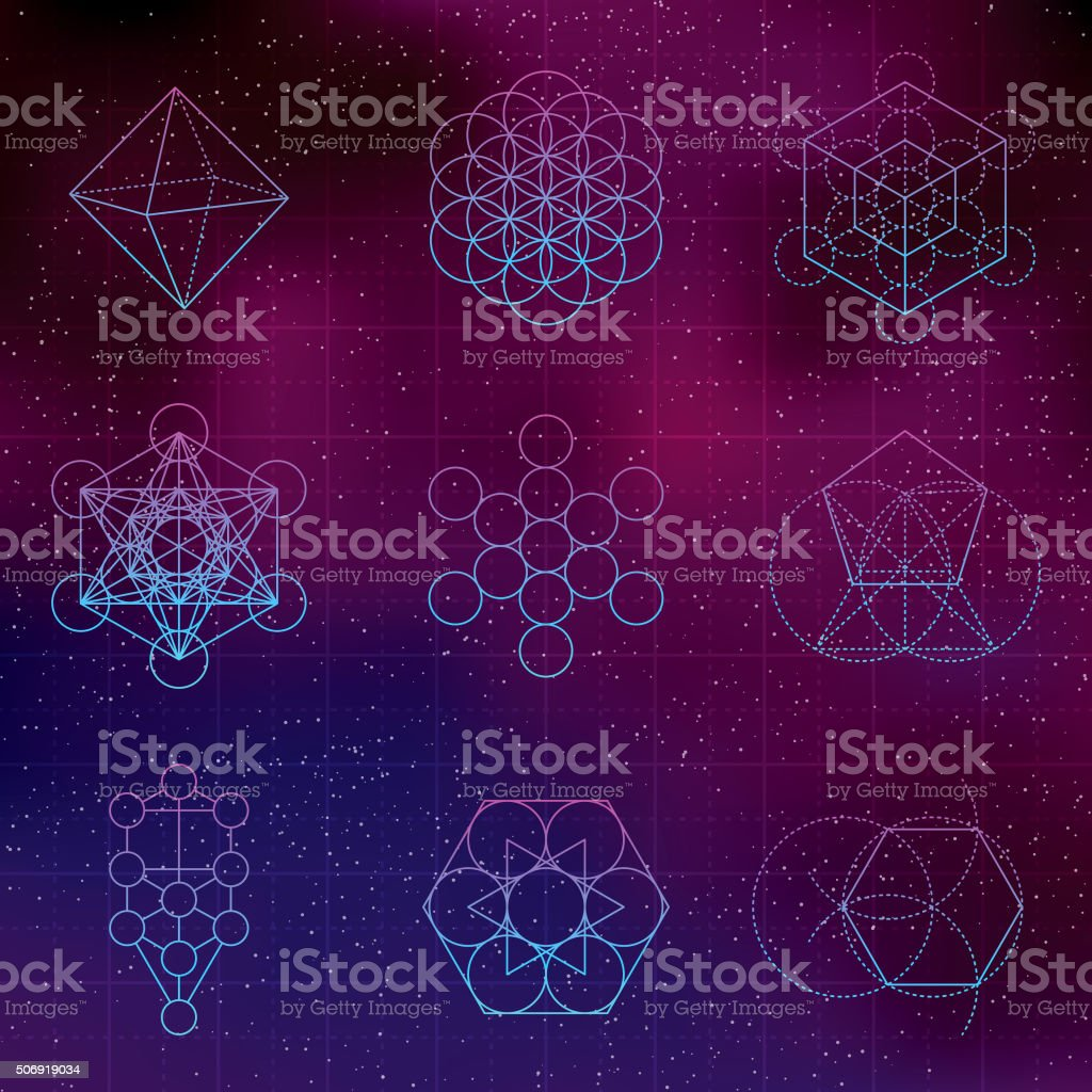 Set of Sacred Geometry Icons vector art illustration