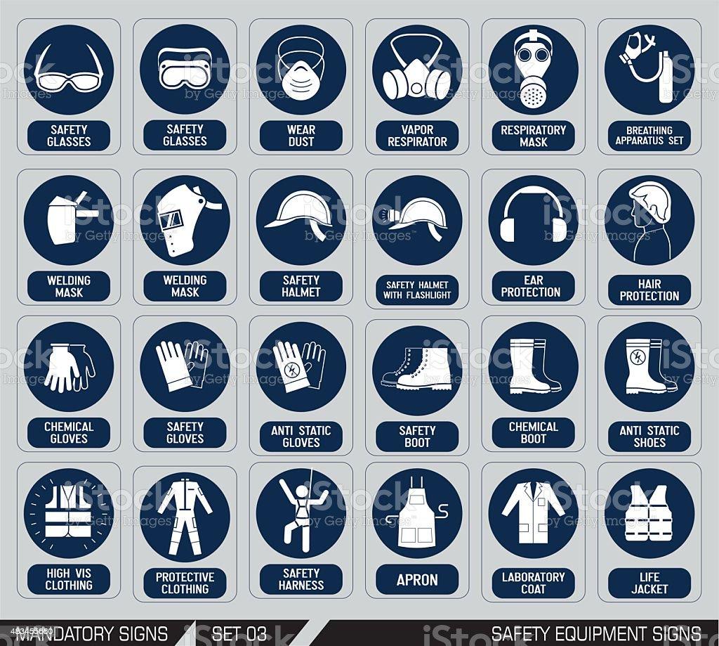 Set of safety equipment signs. vector art illustration