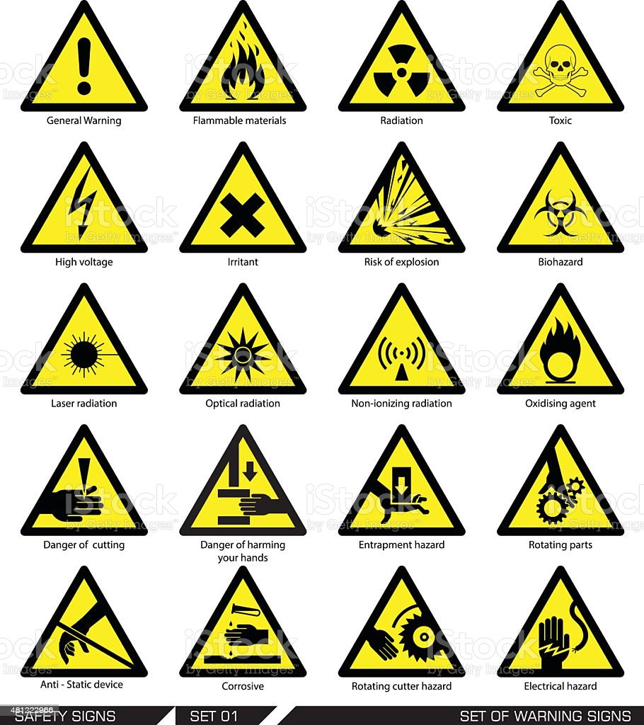 Set of safety signs. Caution signs. vector art illustration