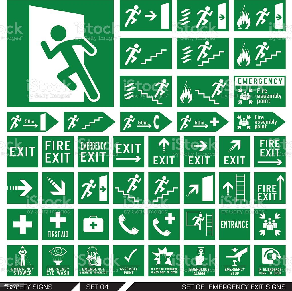 Set of safety signs. Exit signs. vector art illustration