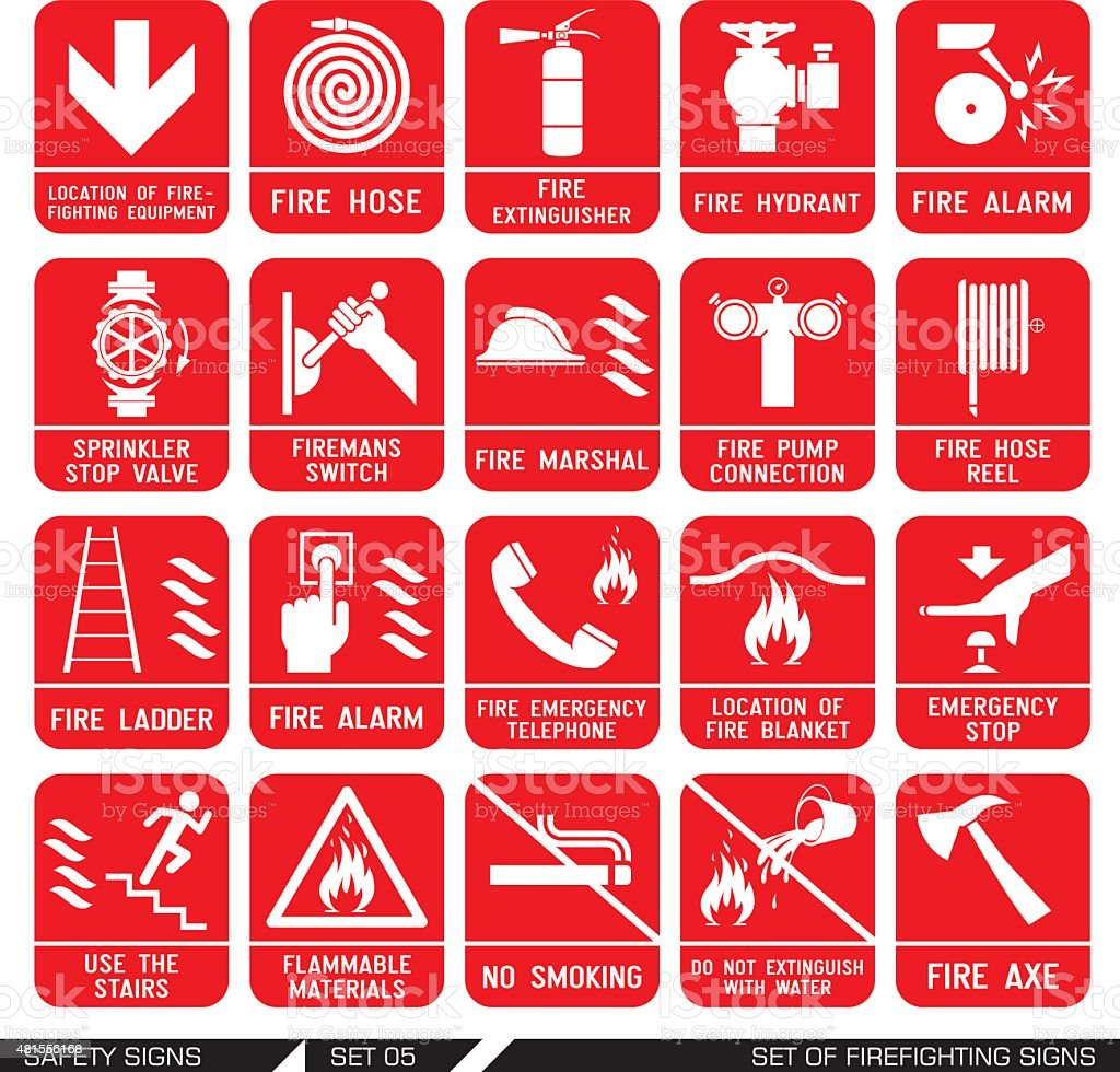 Set of safety signs. Firefighting icons. vector art illustration