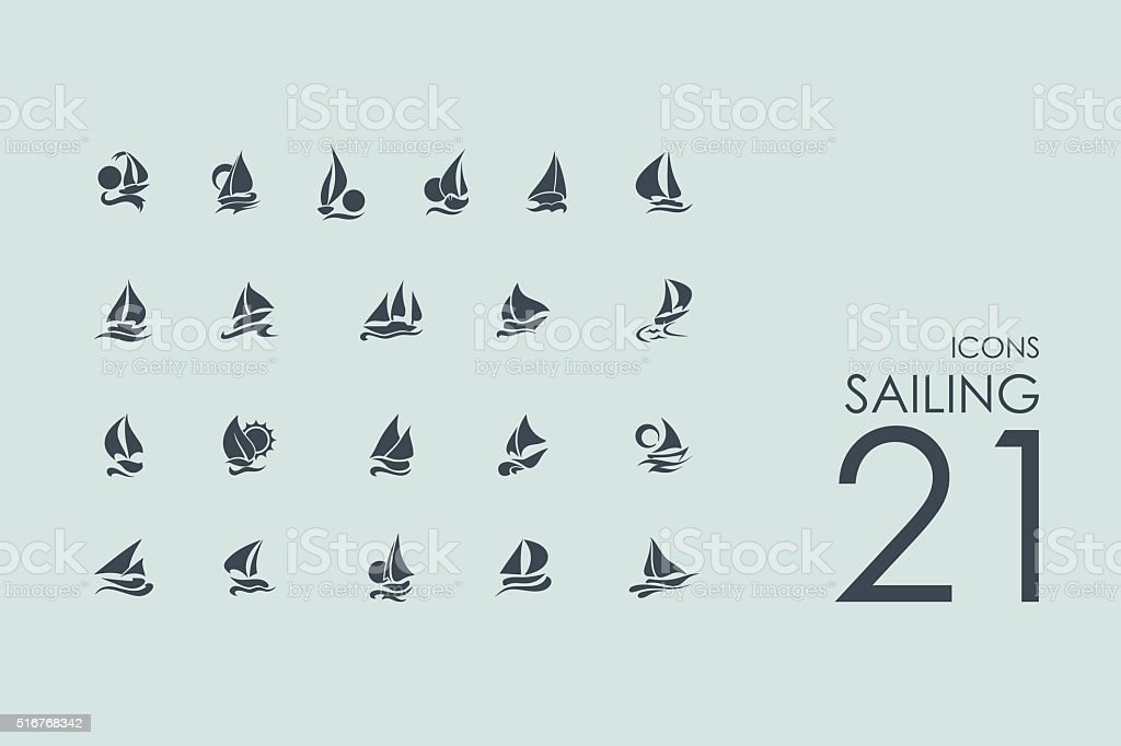 Set of sailing icons vector art illustration