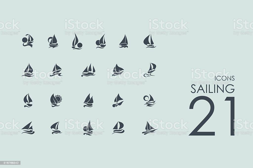 Set of sailing icons vector art illustration