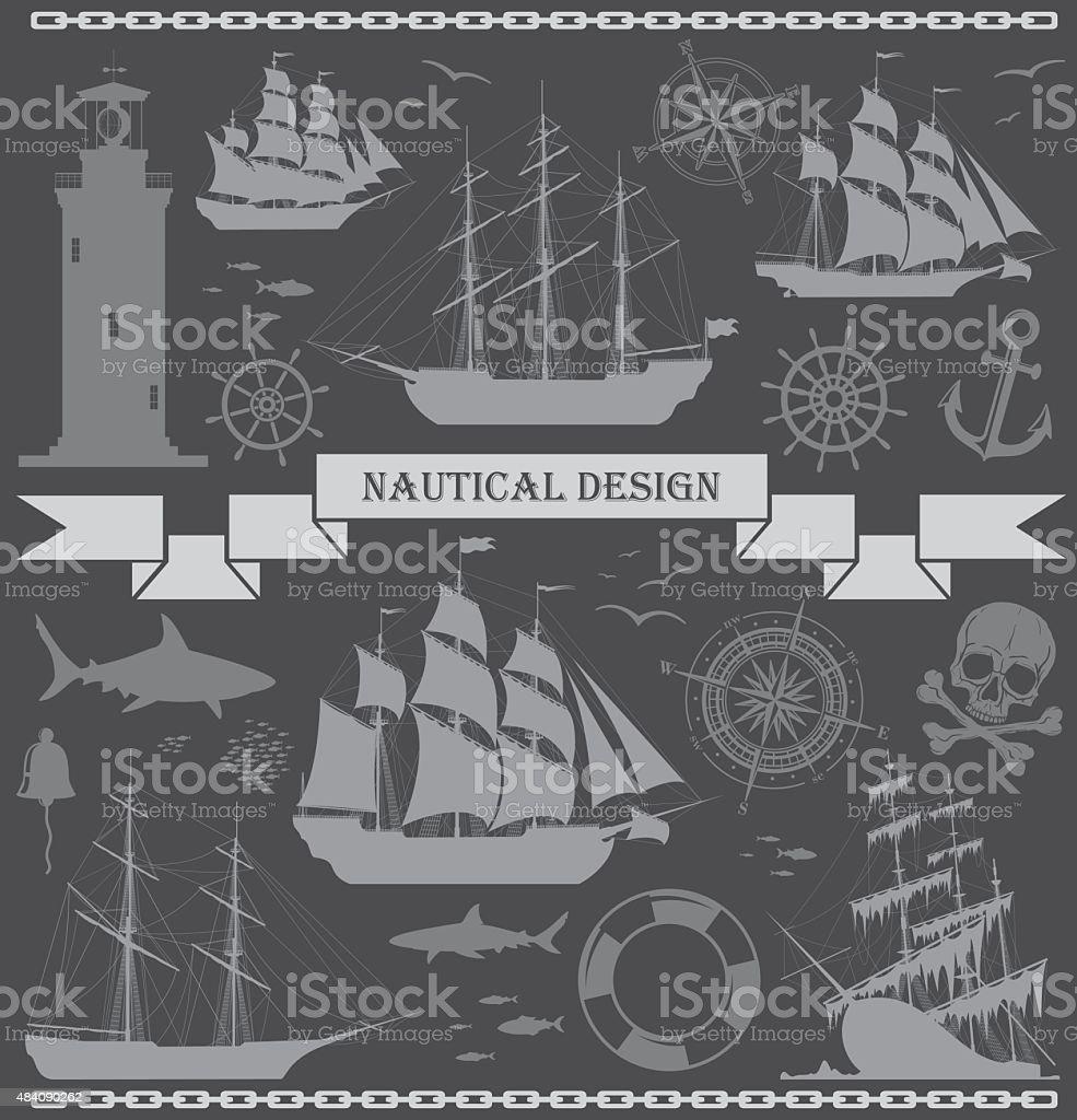 Set of sailing ships with nautical design elements. vector art illustration