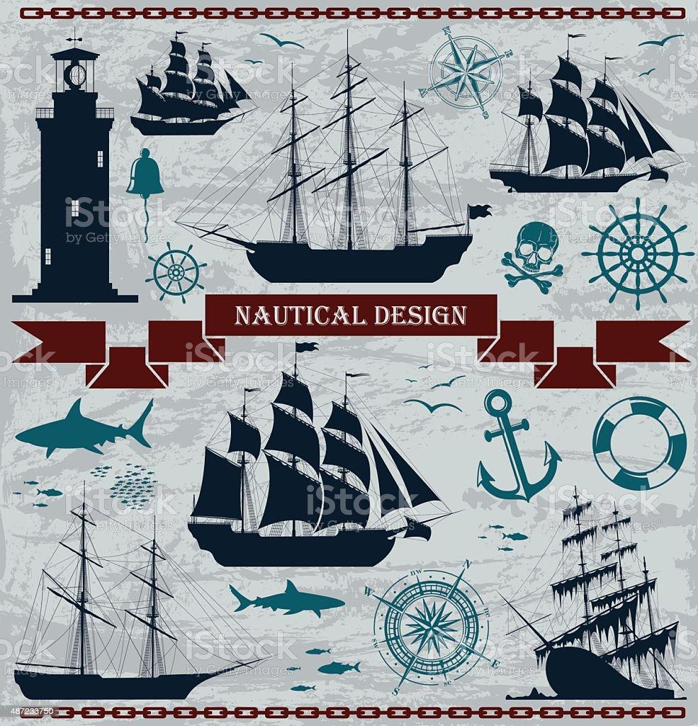Set of sailing ships with nautical design elements vector art illustration