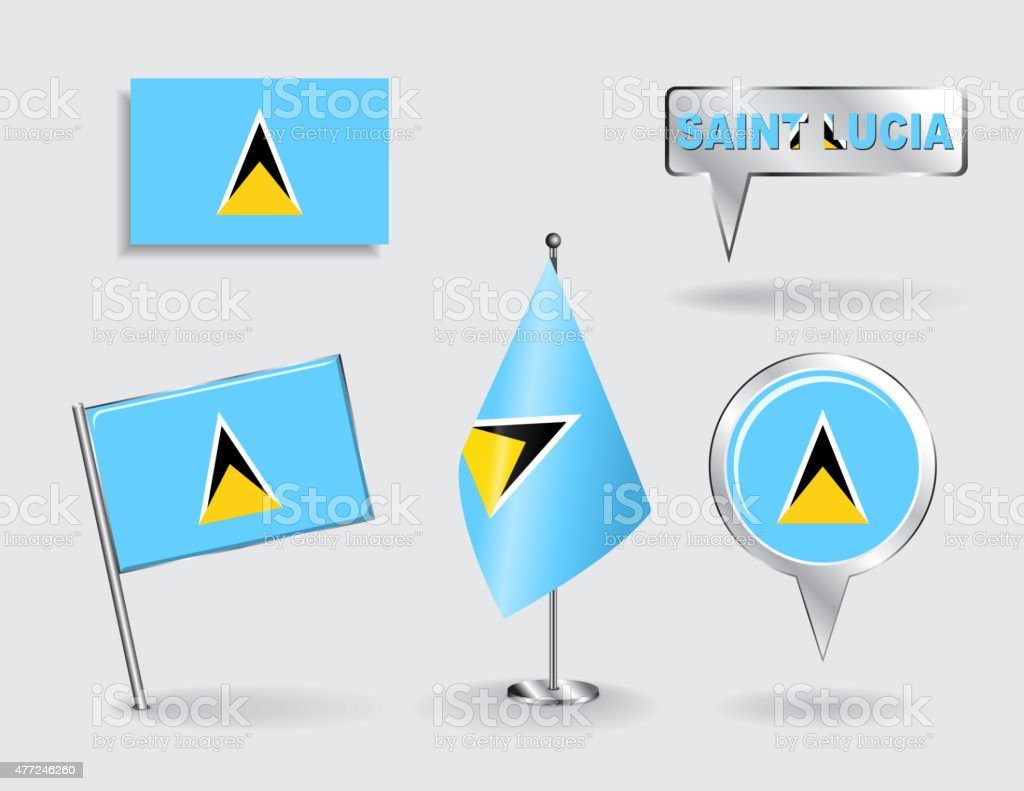 Set of Saint Lucia pin, icon and map pointer flags vector art illustration
