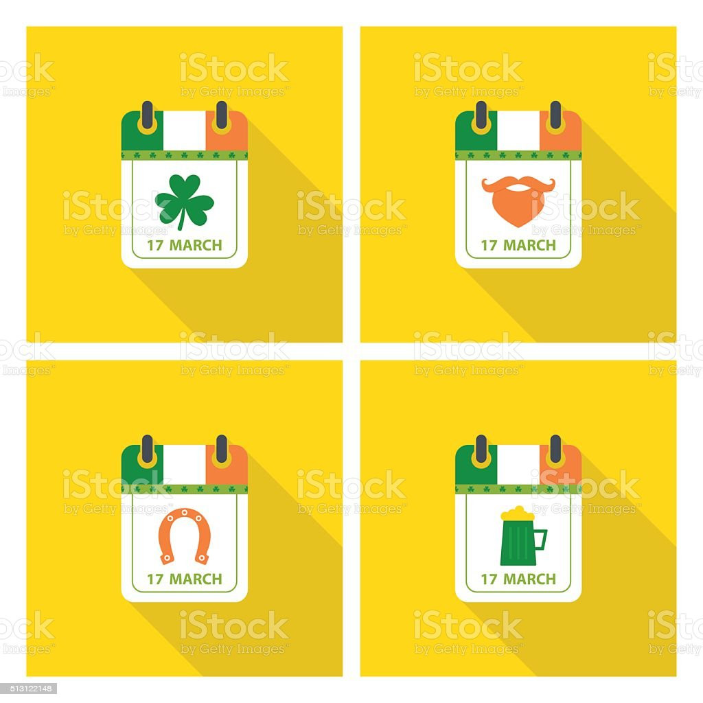 Set of Saint Patrick's day calendar icons with long shadow. vector art illustration