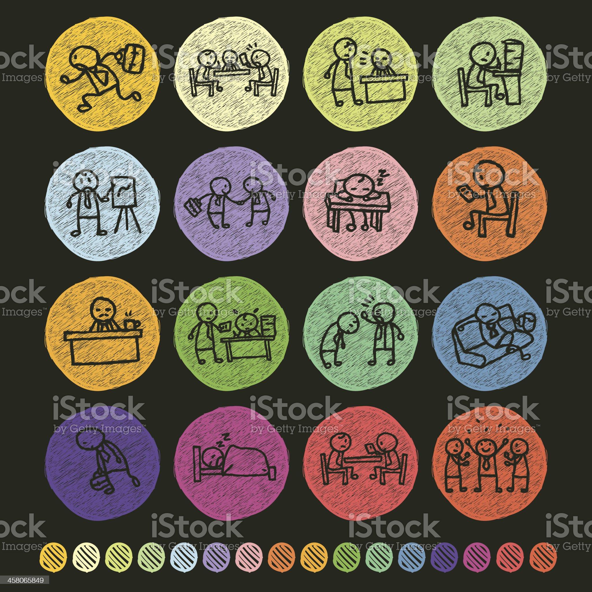 Set of Salaryman icons royalty-free stock vector art
