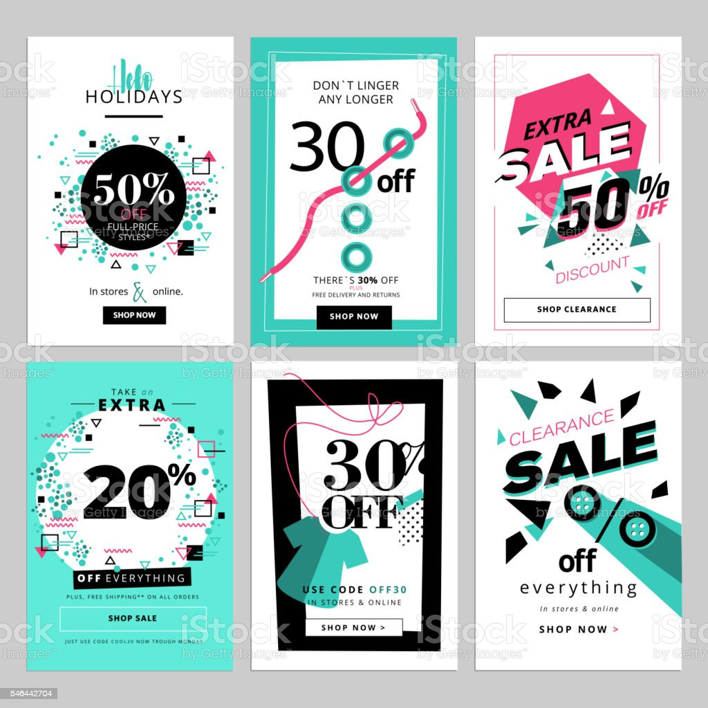 Set of sale banners for smartphone vector art illustration