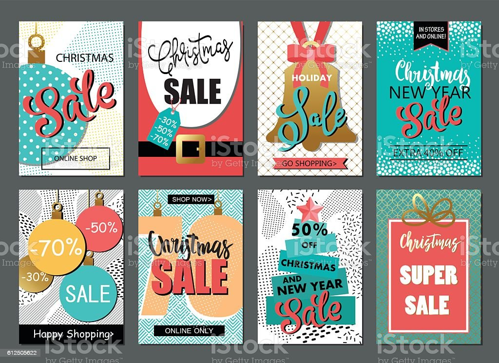 Set of sale Christmas and New Year website banner templates. vector art illustration