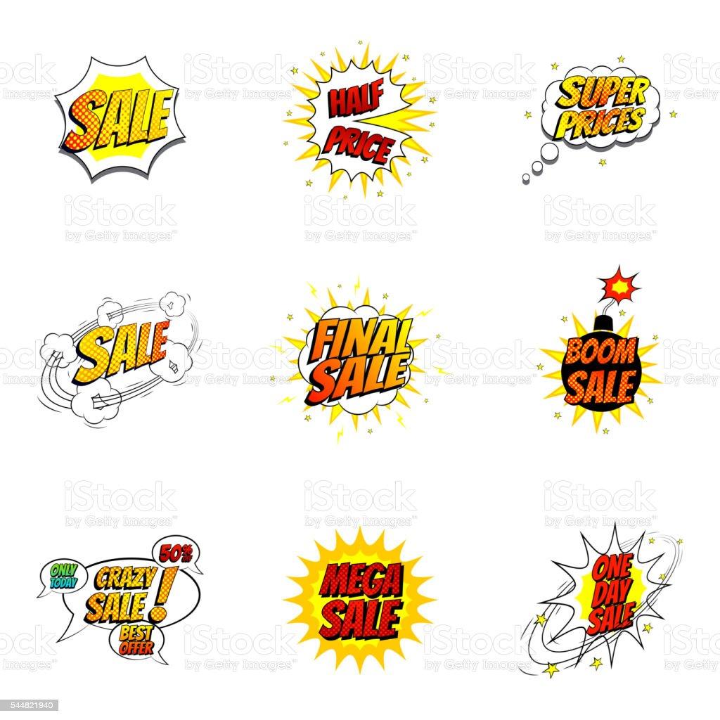 Set of sale symbols in pop art style royalty-free stock vector art