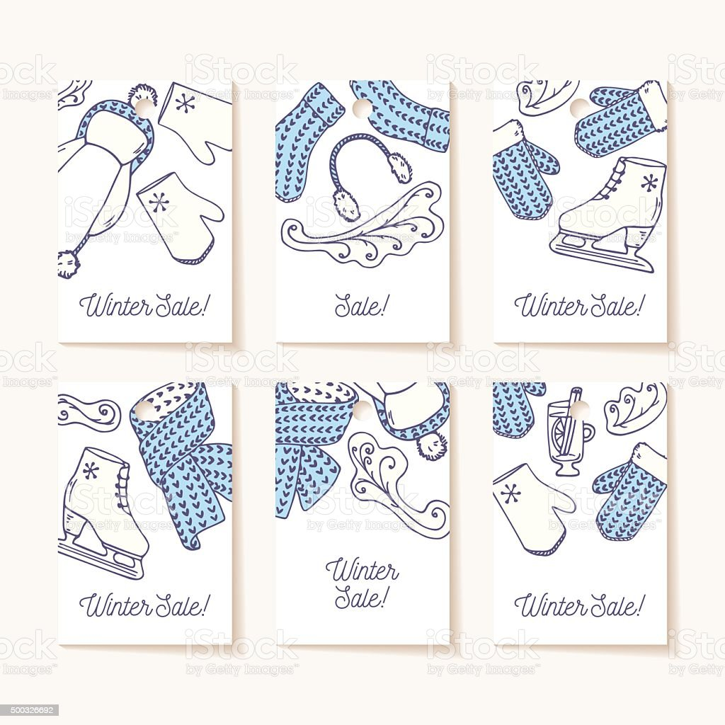 Set of sale tags. Hand drawn winter knitted accessories. Cute vector art illustration
