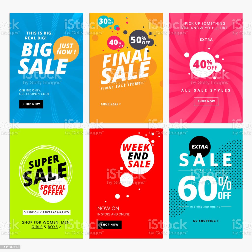 Set of sale website banner templates vector art illustration