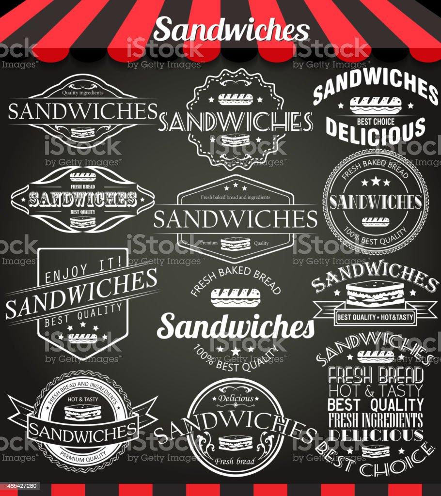 Set of sandwiches retro vintage labels, badges on blackboard. vector art illustration