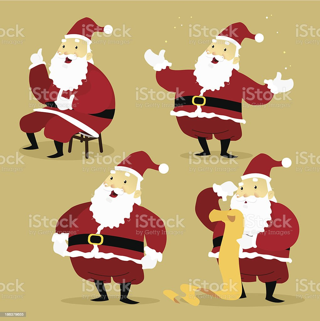 Set of Santa Claus illustrated in Different Poses vector art illustration