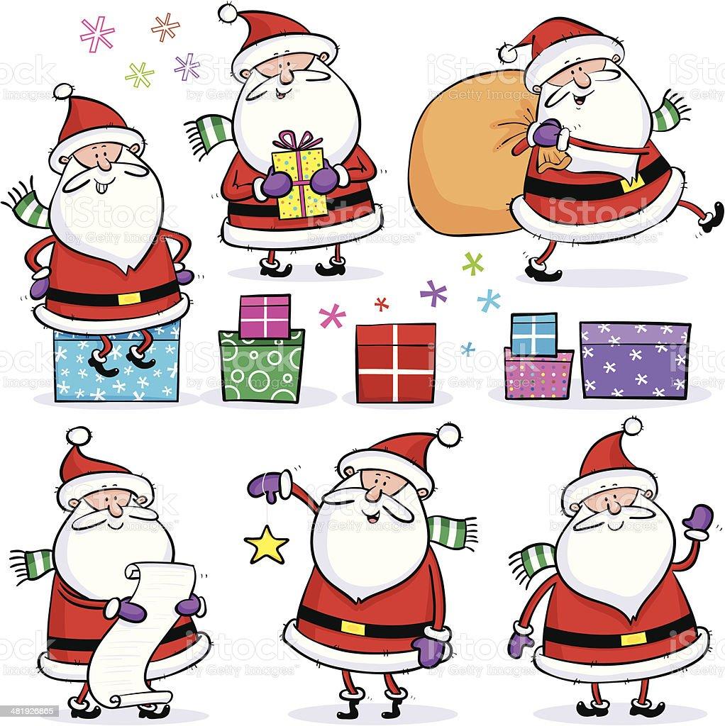 Set Of Santas royalty-free stock vector art