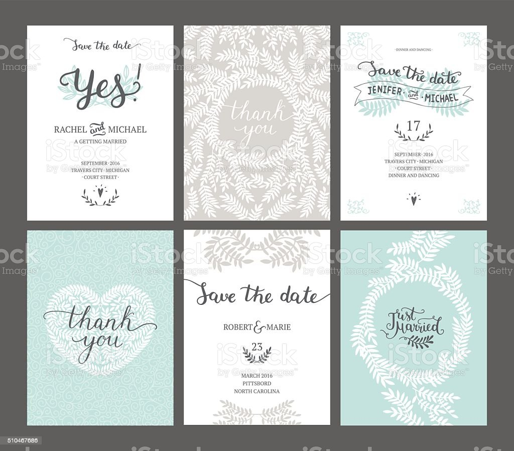 Set of Save the date cards vector art illustration
