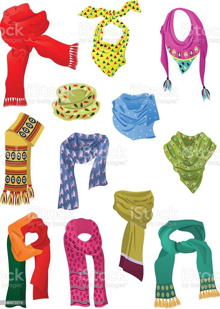 Set of scarves for girls vector art illustration