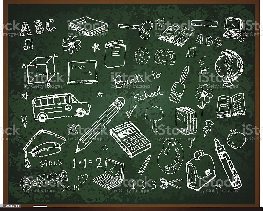 Set of school doodle illustrations vector art illustration