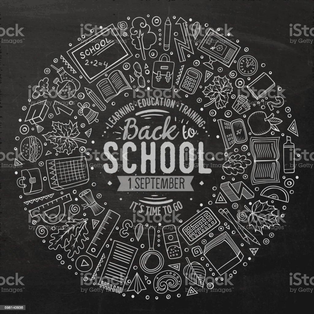 Set of School objects, symbols and items vector art illustration