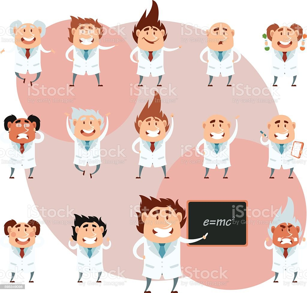 Set of scientists1 vector art illustration