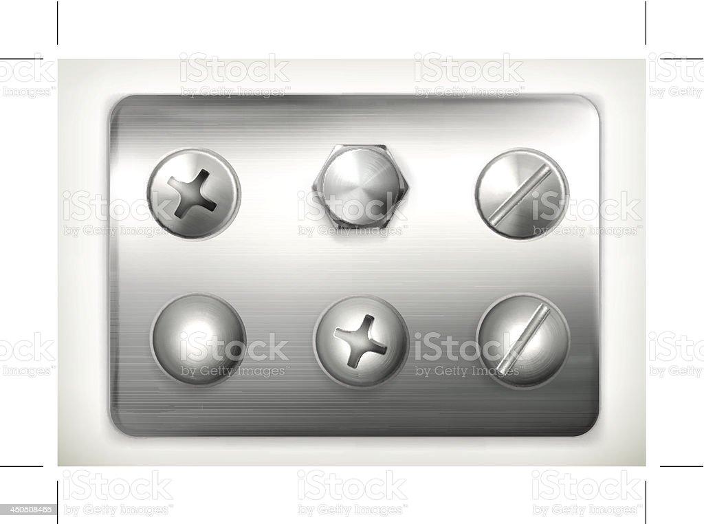 Set of screws vector art illustration