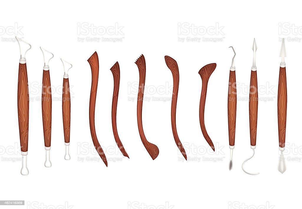 Set of Sculpting Tools on White Background vector art illustration